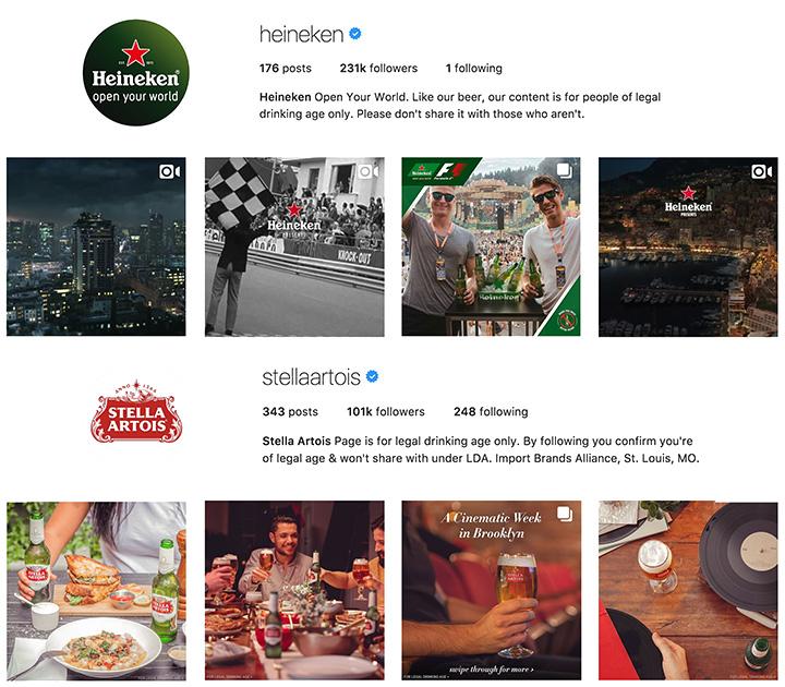 Heineken and Stella Artois Instagram