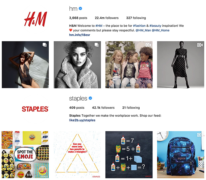 H&M and Staples Instagram
