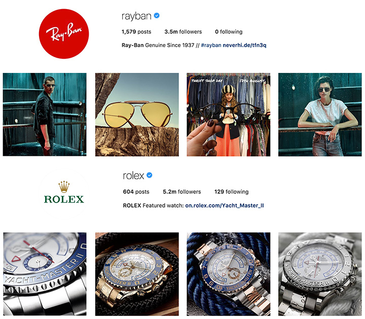 Rayban and Rolex Instagram